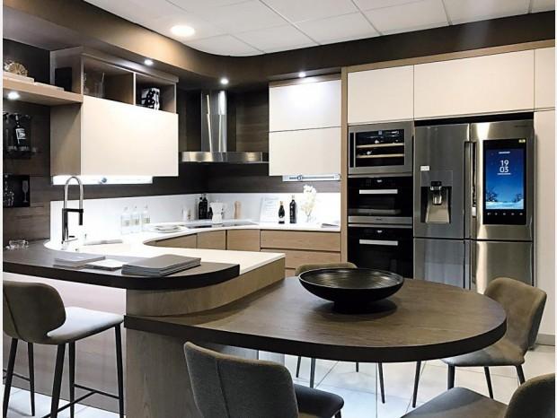 Cucina angolare FMM Design Vero Legno Olmo Fiammato