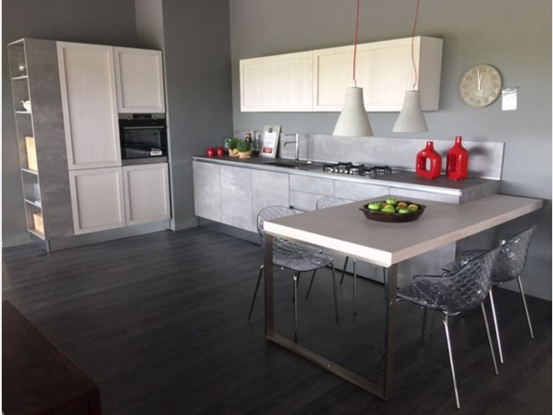 Cucina con penisola G&D Cucine SPACE + LEGNO VIVO